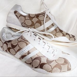 Coach Katelyn Brown, tan and cream sneakers size 9